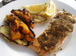 Grilled Salmon with Grilled Peppers