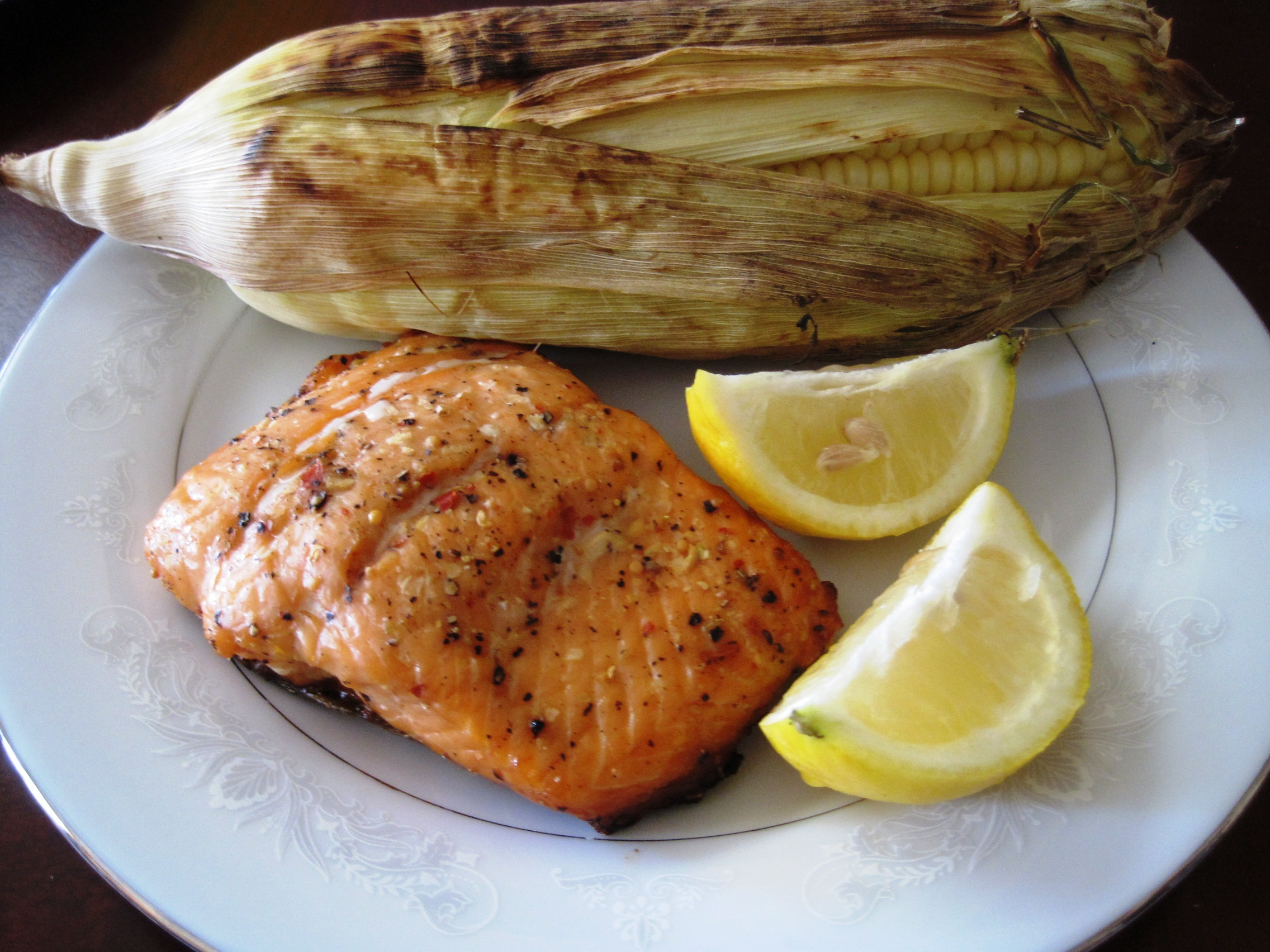 Stay Healthy Grilled Salmon and Sweet Corn in the Husk